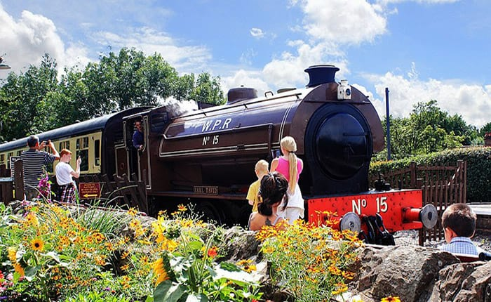 train with flowers and family